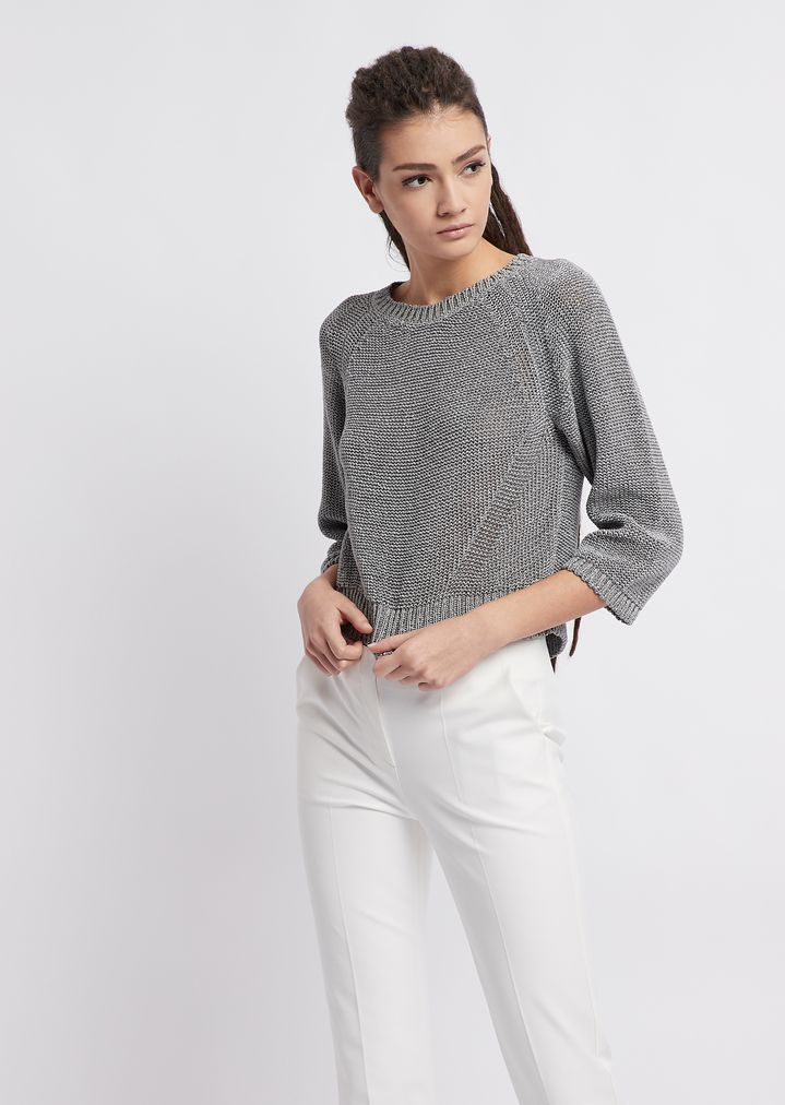 a70182e5f12add Plain reverse knit sweater with raglan sleeves
