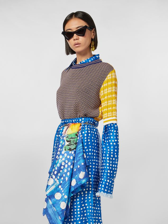 Marni Crewneck knit in cotton and wool jacquard Woman - 1