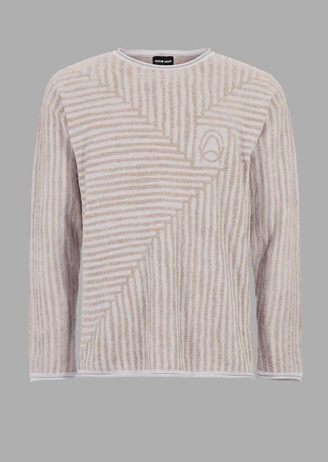 Maglione con motivo in rilievo in ciniglia con logo GA sul petto