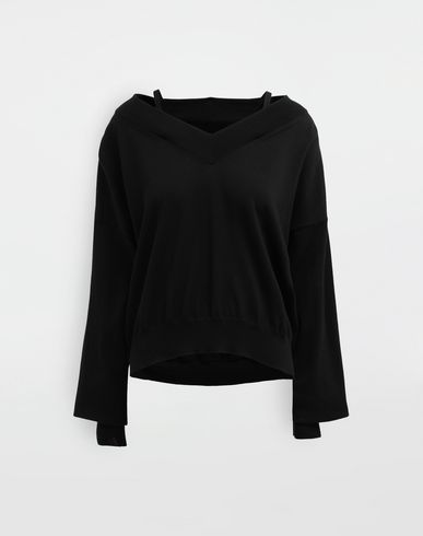 SWEATERS NewBasic jersey knit pullover Black