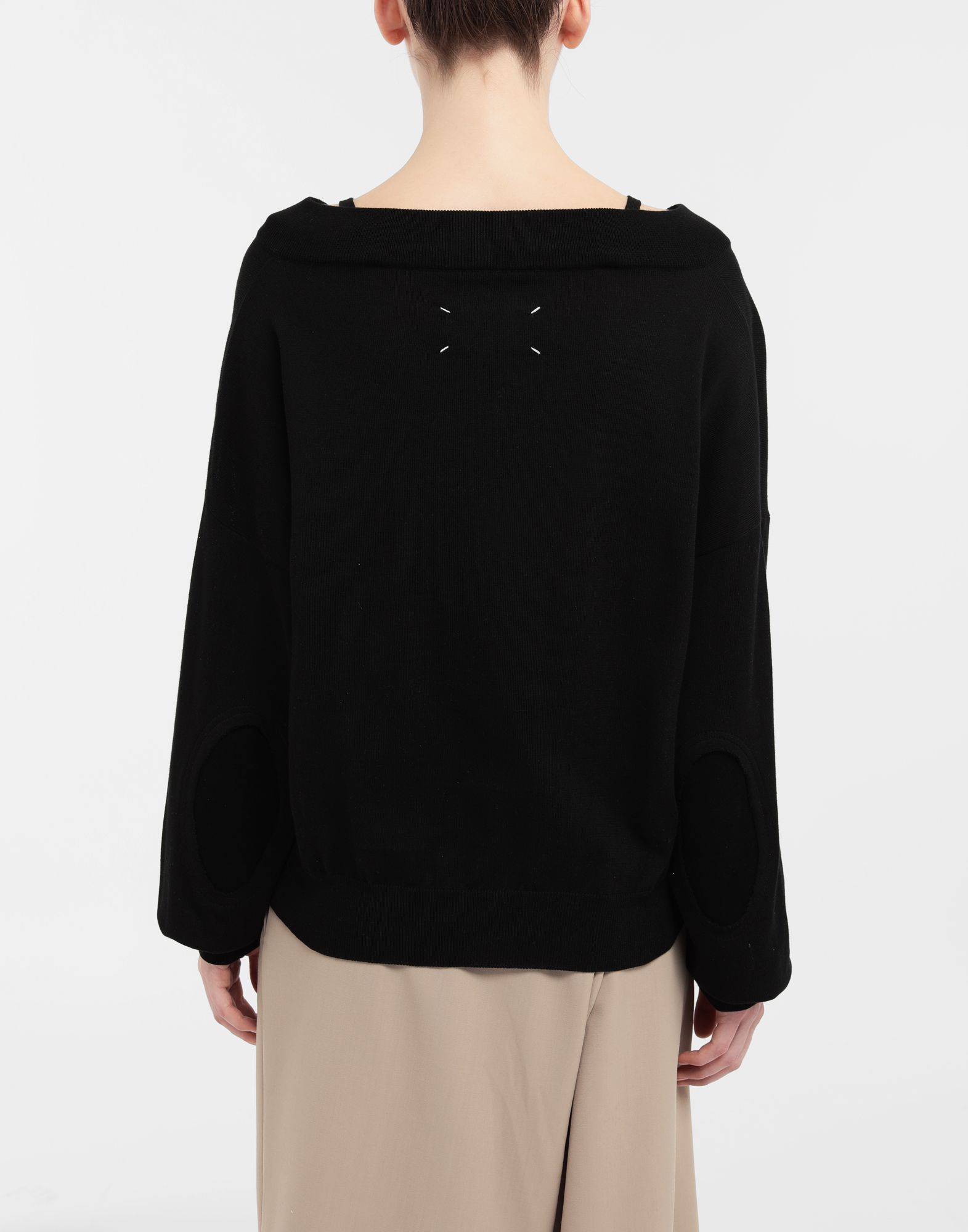 MAISON MARGIELA NewBasic jersey knit pullover V-neck sweater Woman e