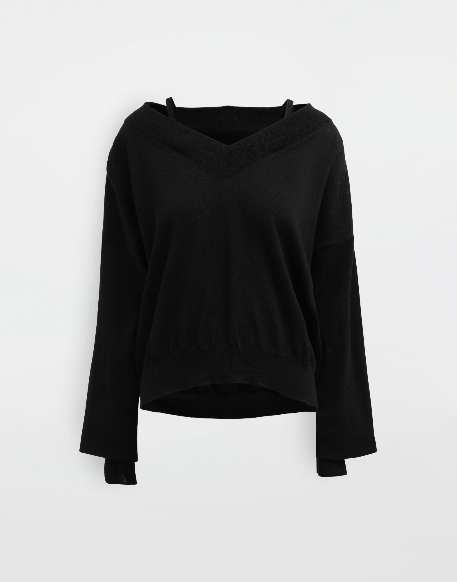 MAISON MARGIELA NewBasic jersey knit pullover V-neck sweater Woman f