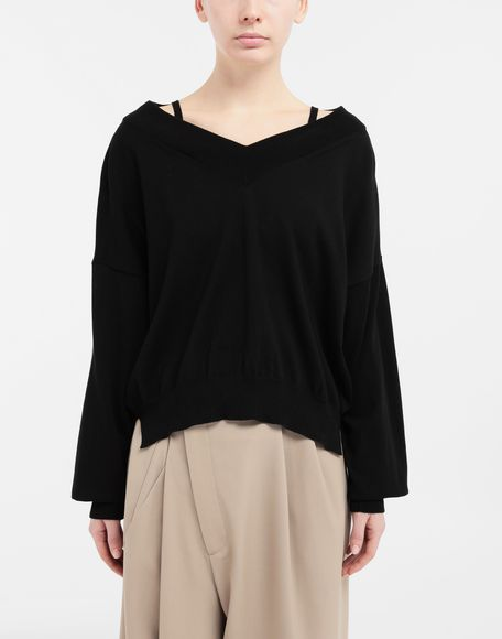 MAISON MARGIELA NewBasic jersey knit pullover V-neck sweater Woman r