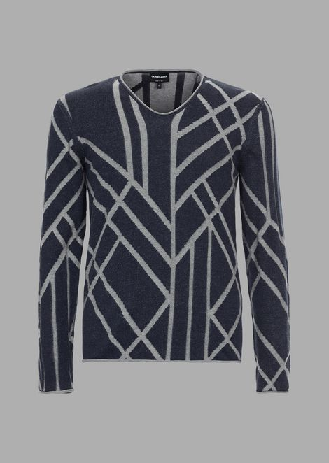 Cotton and cashmere sweater in a plated knit