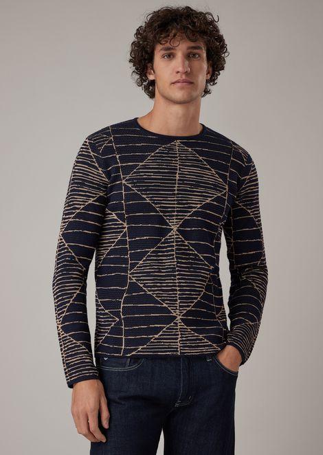 Sweater with two-tone geometric jacquard