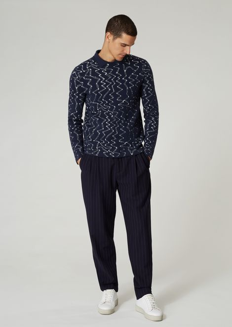 Abstract jacquard sweater with knit collar