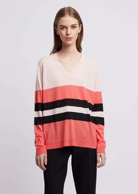 V-neck sweater in pure, striped wool