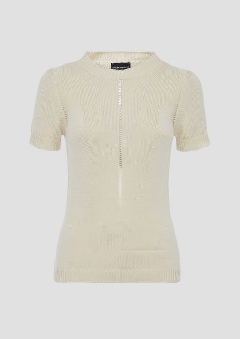 Short-sleeved shirt with perforated details
