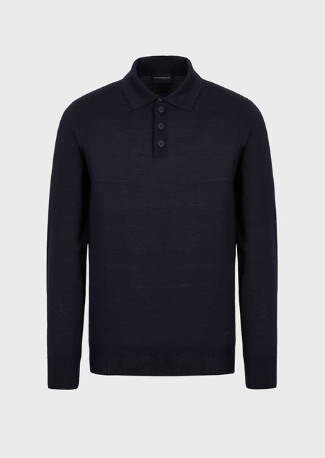 Polo-neck sweater in pure virgin wool