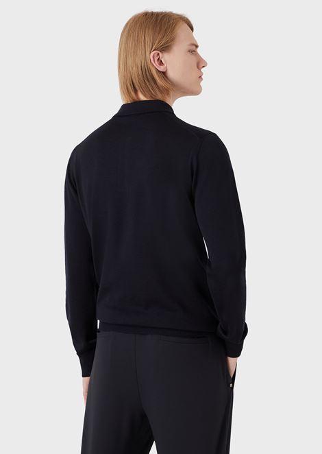 Plain knit polo shirt in pure virgin wool