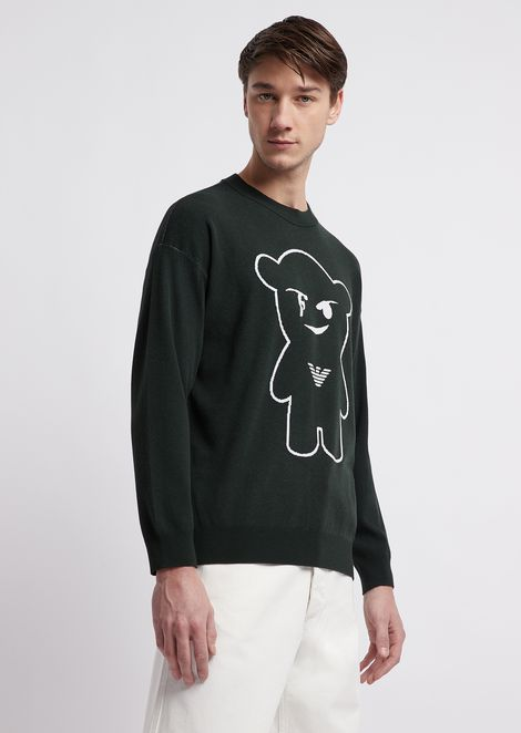 Maglione girocollo in tessuto jacquard Manga Bear