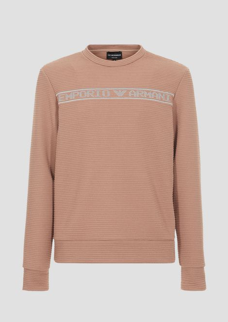 Crew-neck sweater in ottoman with Emporio Armani logo