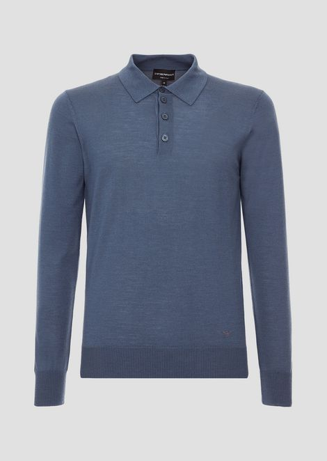 Plain knit polo shirt in pure virgin wool