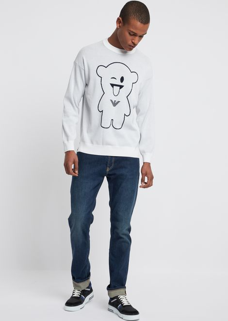 Crew-neck sweater with embroidered Manga Bear
