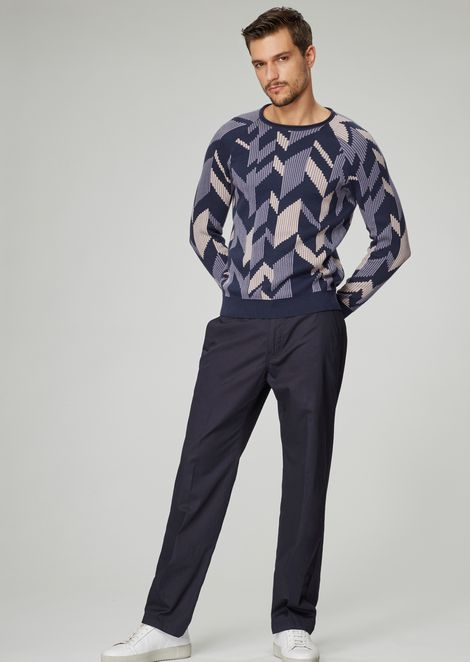 Jacquard sweater with three-dimensional effect chevron design