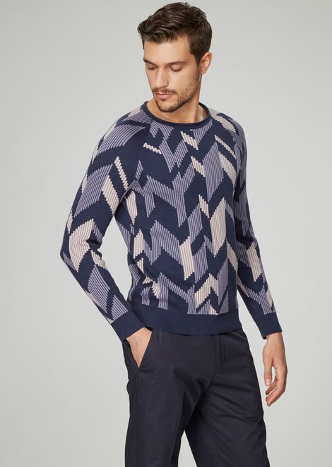 Jacquard sweater with three-dimensional effect chevron design
