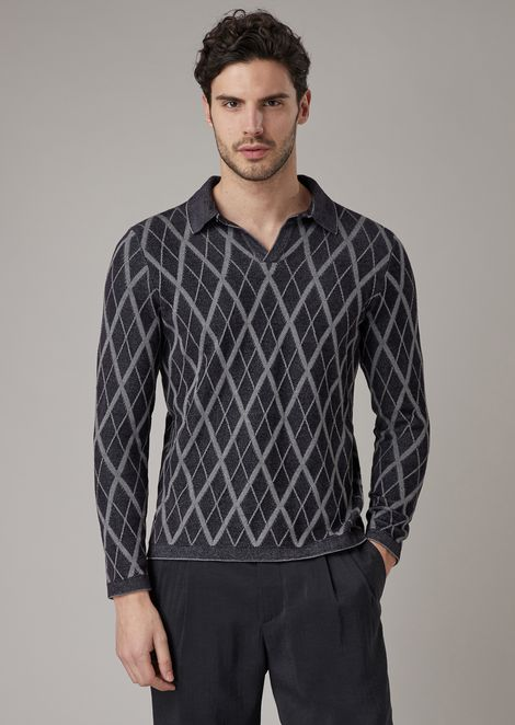 Diamond motif jacquard knit polo shirt
