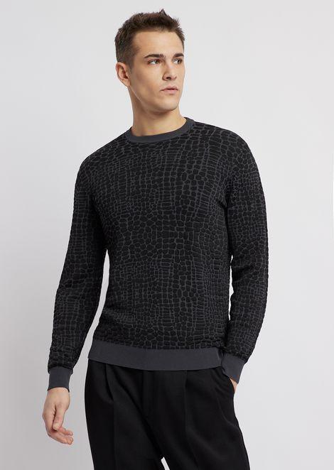 Sweater with croc jacquard motif