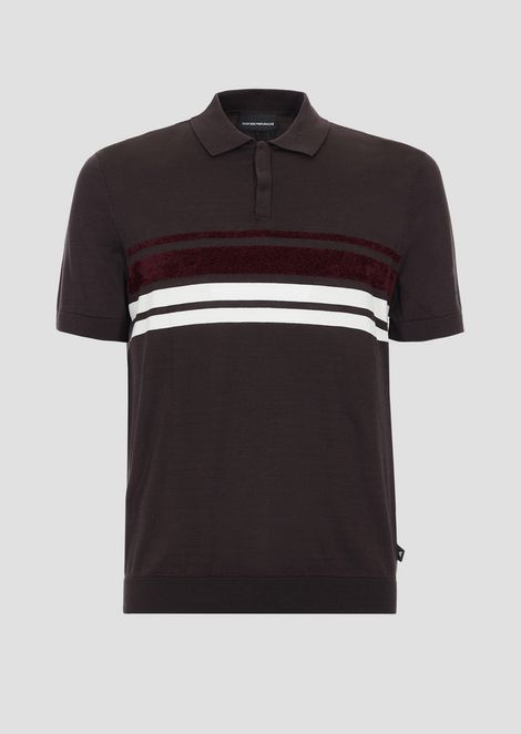 Knitted polo shirt in cotton with stripes