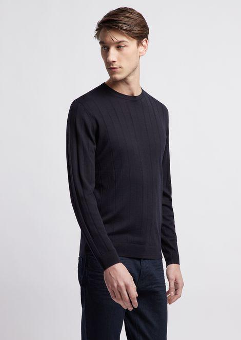 Virgin wool ribbed knit sweater