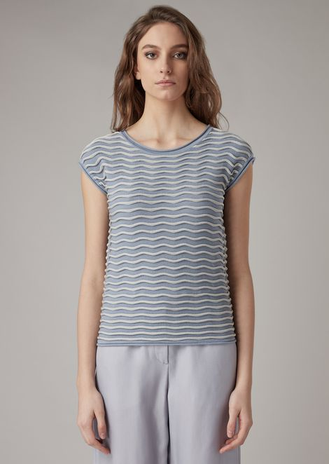 Piqué knit with raised wavy ripples in two colors