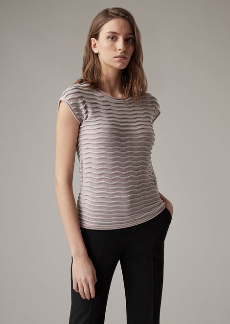 Piqué knit with raised wavy ripples in two colours
