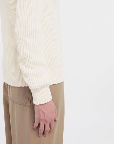 SWEATERS Zip-up ribbed sweater Beige