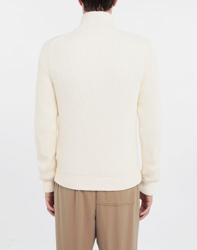 KNITWEAR Zip-up ribbed sweater Beige