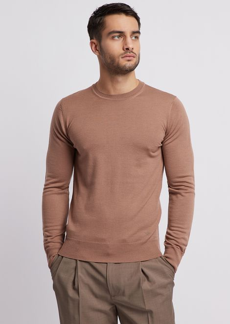Pure virgin wool sweater with embroidered logo