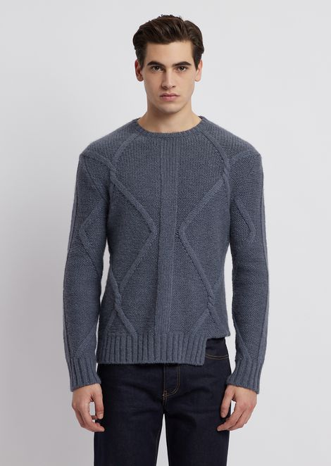Plain-knit wool blend sweater with weave