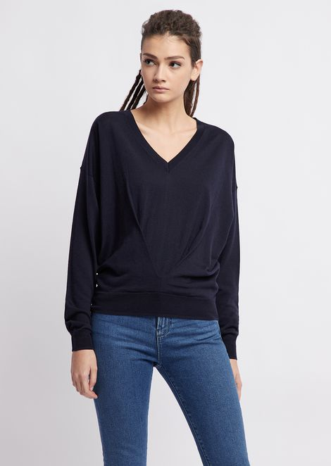 V-neck sweater with draped front