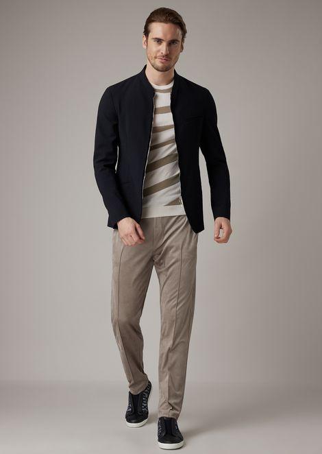 Satin and cotton moss stitch shirt with wave pattern