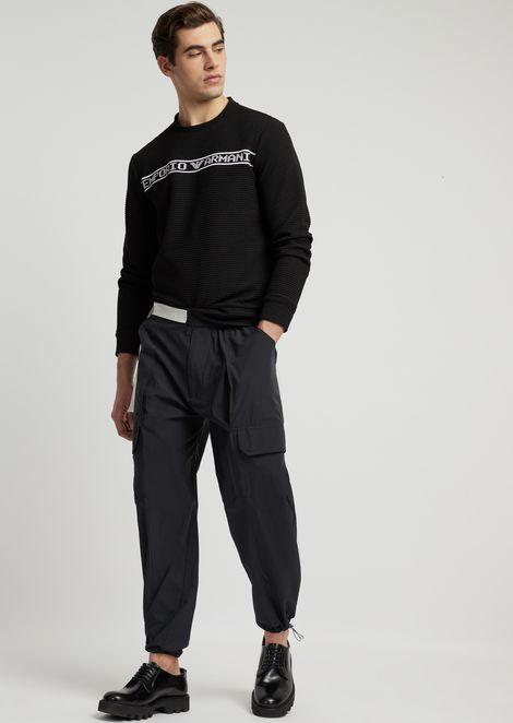 Crew-neck sweater in ottoman with Emporio Armani logo