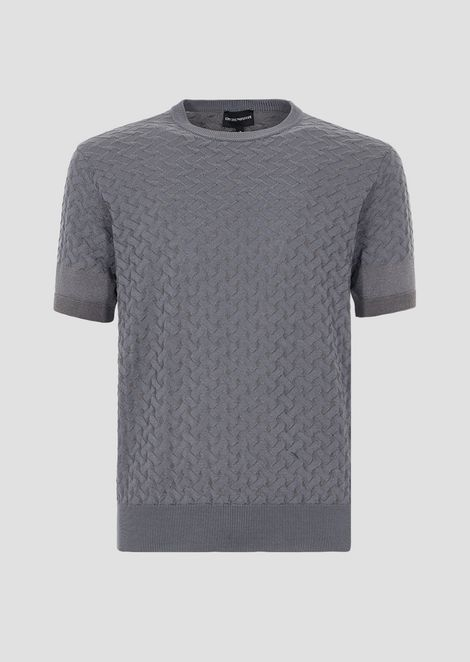 Knitted top with short vanisé jacquard sleeves