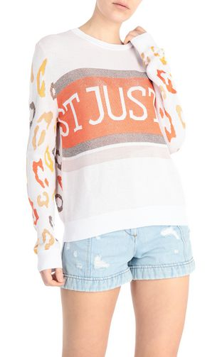 JUST CAVALLI Sweater Woman Pullover with leopard-print logo f