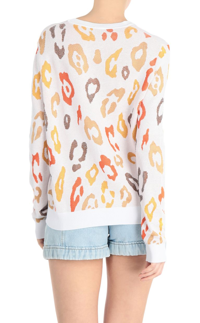 JUST CAVALLI Pullover with leopard-print logo Sweater Woman r