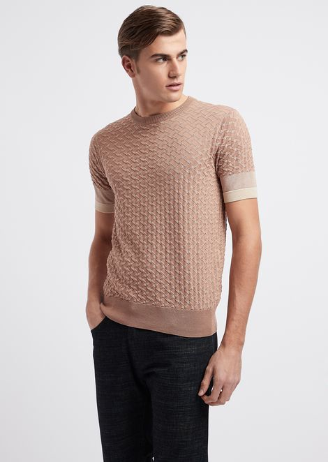 Short-sleeved knitted top in vanisé jacquard