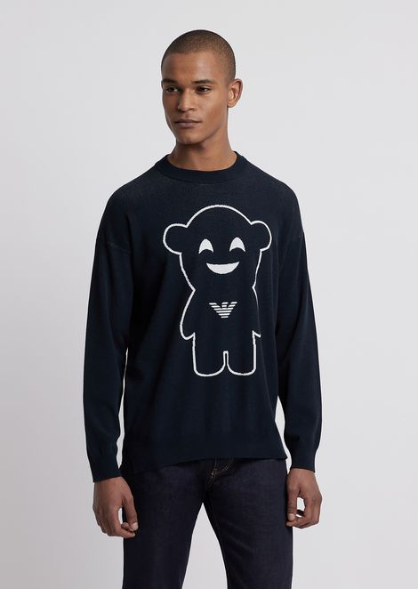 Crew neck sweater with embroidered Manga Bear