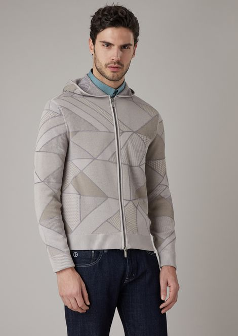 Cardigan con cappuccio e zip in tessuto a grafica geometrica con dettagli in ciniglia