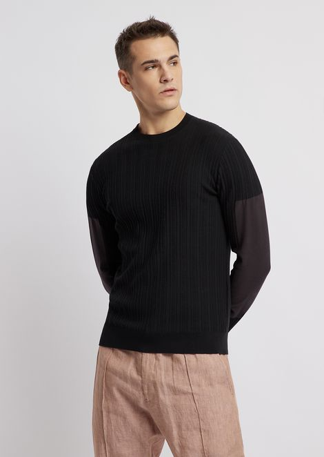 Patterned two-tone sweater in cotton and silk