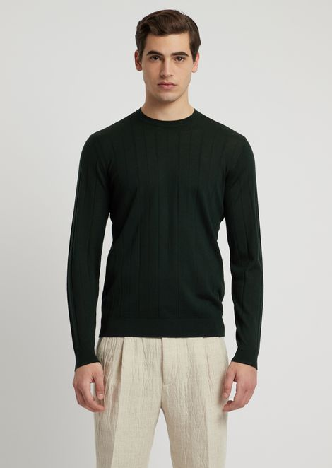 Virgin wool ribbed knit sweater