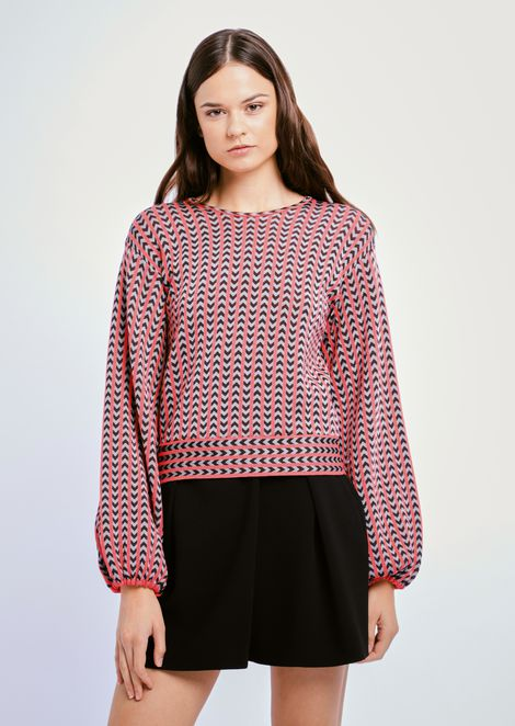 Chevron jacquard fabric sweater with oversized sleeves