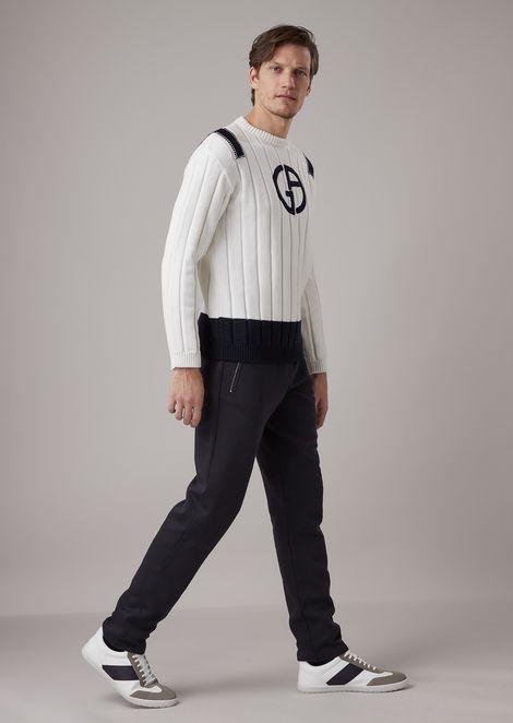 Maglione in lana vergine a coste larghe con logo ricamato a contrasto