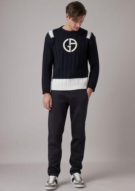 Объемный свитер из натуральной шерсти крупной вязки сконтрастным вышитым логотипом