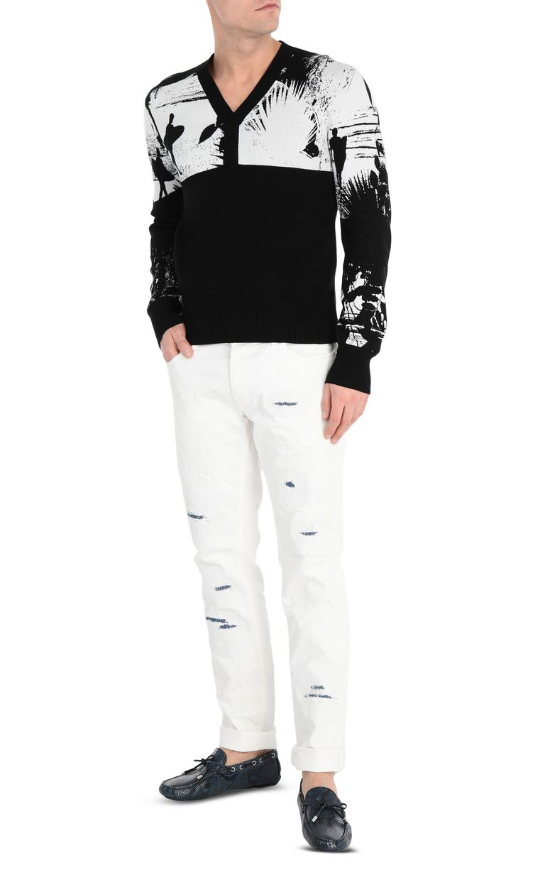 JUST CAVALLI Pullover with surfer embroidery V-neck Man d