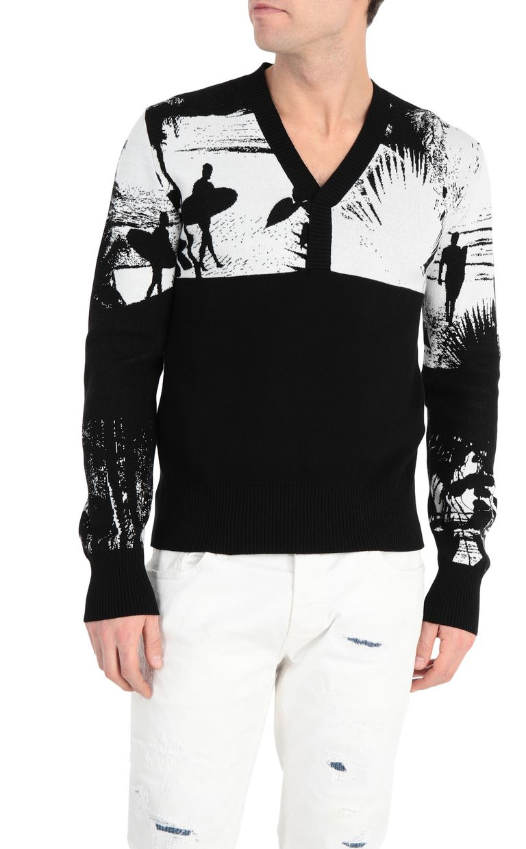 JUST CAVALLI Pullover with surfer embroidery V-neck Man f