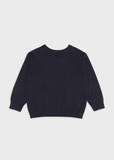 Crew-neck sweater with embroidered logo front and back