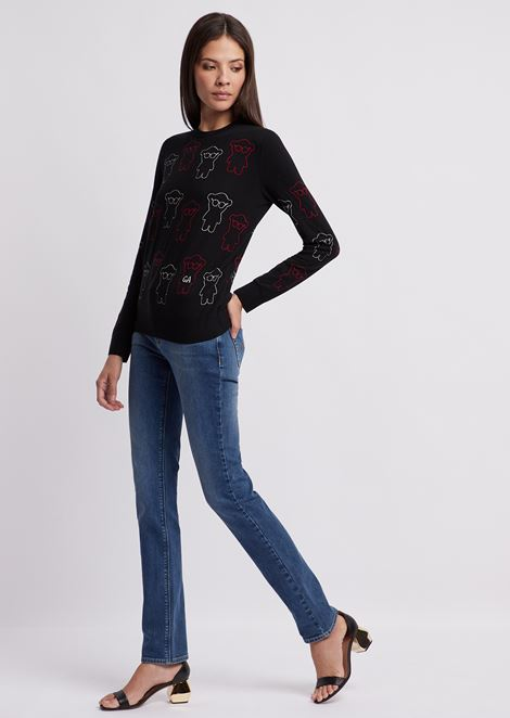 Sweater in jacquard with embroidered Manga Bear