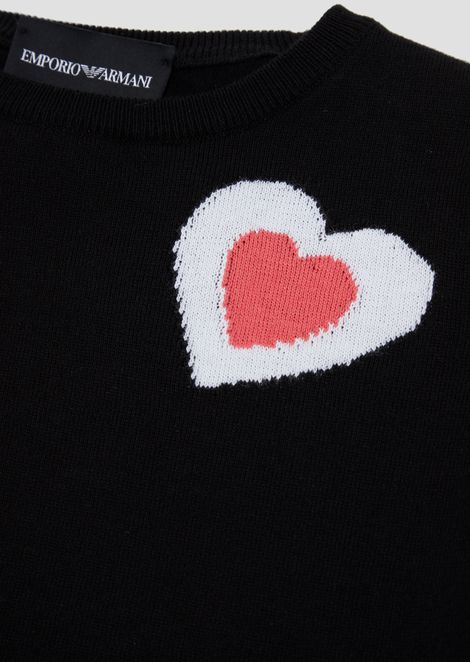 Pure cotton short-sleeved sweater with embroidered heart