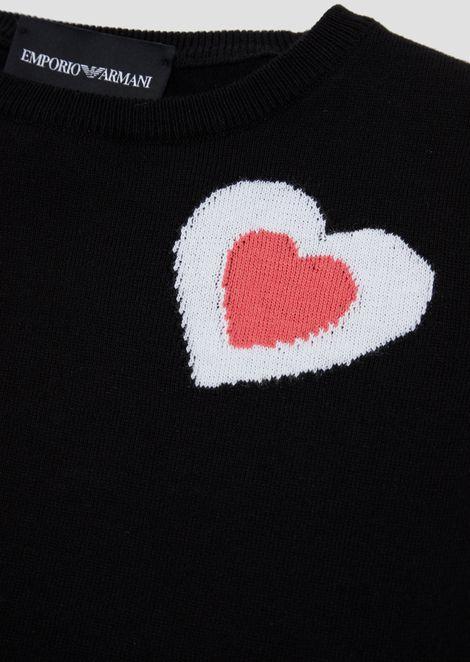 ピュアコットン半袖セーター ハート刺繍